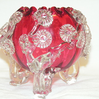 Stevens & Williams Victorian MAT SO NU KE ROSE BOWLS - Art Glass