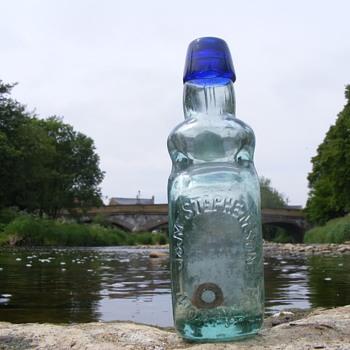 J & M Stephenson Morpeth bulb neck blue lip codd bottle