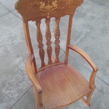 Inlaid cherrywood rocker by an unknown maker