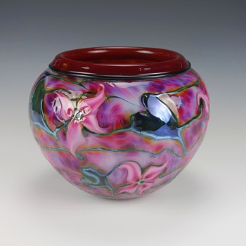CHARLES LOTTON MULTI FLORA ART GLASS VASE - Art Glass
