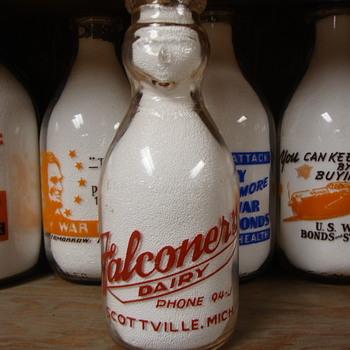 FALCONERS DAIRY...SCOTTVILLE MICHIGAN COP THE CREAM MILK BOTTLE - Bottles