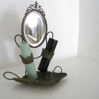 "1800's ?Antique Brass ? Lipstick Holder with Tray and Beveled Mirror 6"" Tall - Accessories"