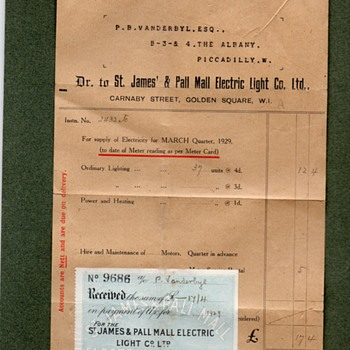 Early Energy Bill 1929 St James & Pall Electric Light Co Ltd to P B Vanderbyl Esq Piccadilly London
