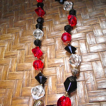 Striking Red, Black and Clear plastic beads