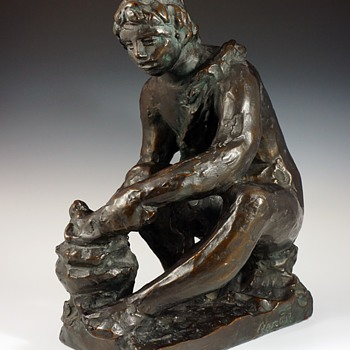 """Renoir """"Le Feu"""" Bronze (1916)  - Art Nouveau"""