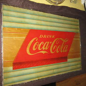 Vintage glass sign from Coney island - Coca-Cola