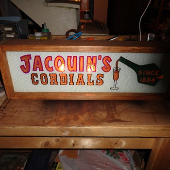 Jacquin's Caordials Reverse Painted Glass Sign. Lighted - Signs