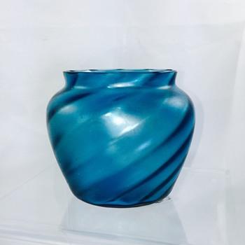 Antique Bohemian? Moser? Slow Twist Blue Iridescent Vase Bowl  - Art Glass