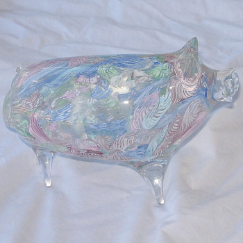 Large Pig Lattice Swirl figurine - Art Glass