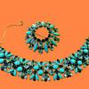 Magnificent Sherman Parure, Bracelet & Set, Rarest Of Rare Opague Blue Stones With Other Blues !~