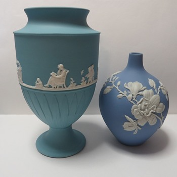 Wedgwood Jasperware White on Turquoise Vase - Made in Thailand! - China and Dinnerware