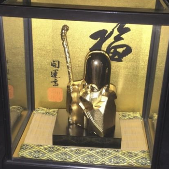 Antique 24K Gold Oriental Statue - Possibly Chinese God of Longevity Shou Lao Xing - Asian