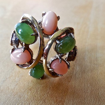 Gold Vermeil over Sterling Silver Jadeite and Coral Ring - Costume Jewelry