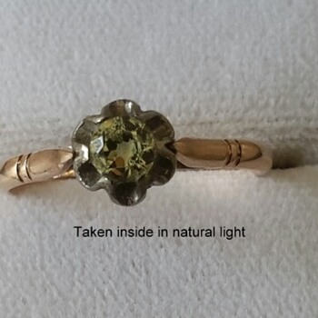 Russian 583 rose gold Demantoid Garnet ring - Fine Jewelry