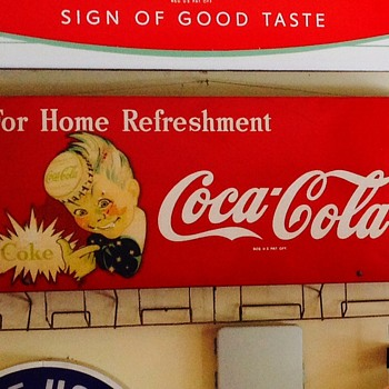 Coca cola bag holder sign  sprite boy 40's and 50's