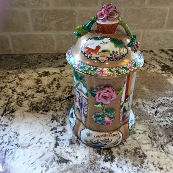 Trying to identify this beautiful Rose Medallion lidded canister. Try to figure out the pottery mark is a nightmare! - Pottery