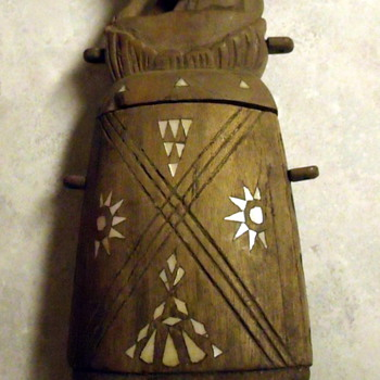 Wooden & Abalone Figural Flask - Bottles