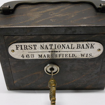"Promotional Advertising Steel Bank, ""The First National Bank, Marshfield, Wisconsin, Circa 1900 - Advertising"