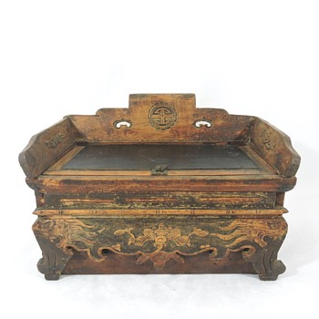 Opening Antique Chinese Wood Box, with Drawer, Bats and Dragons - Asian