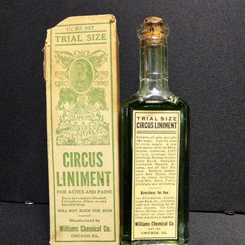 Circus Liniment, Boxed, Labeled, and Full-- And Smelly - Bottles