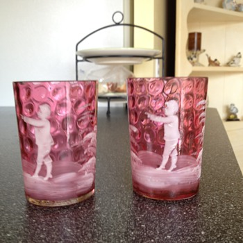 Pink glassware with etchings of young child - Art Glass