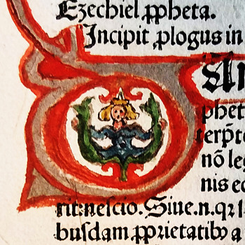 1482 Kobeger Latin Bible Leaf Ezekiel with Starbucks logo