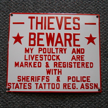 """THIEVES BEWARE"" PORCELAIN SIGN. - Signs"