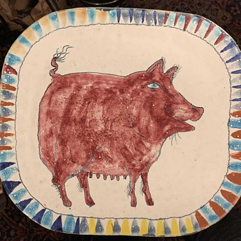 Wonderful Pig Charger by Suki Diamond - Pottery