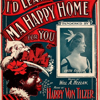 """VINTAGE SHEET MUSIC & POSTCARD,  MATCH-UP """"'I'D LEAVE MY HAPPY HOME FOR YOU"""". 1899 - Music Memorabilia"""