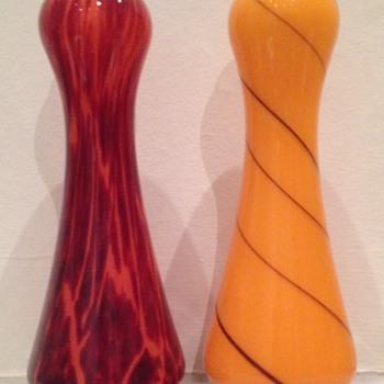 Rindskopf tango glass vases - twin post - Art Glass