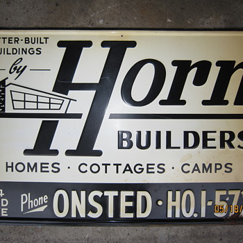 Antique Old Horn Builders Advertisement Steel Metal Sign Homes Cottages Camps Onsted Mich. HO.1-5727 - Signs