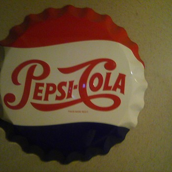 27 inch Pepsi Cola tin wall sign - Signs