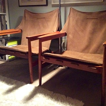 Hans Olsen Leather Sling/Safari Chairs - Mid-Century Modern