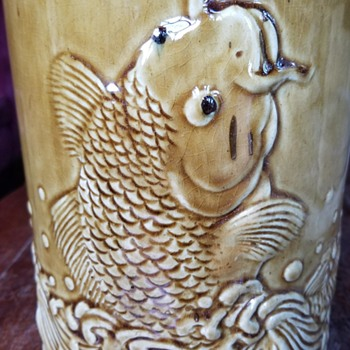 Jumping Koi Fish Majolica Glaze Pottery Umbrella Stand, Unknown Maker and Period - Animals