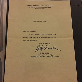 WW2 Condolence Letter  Signed by General H.H. Arnold On Memorial Day