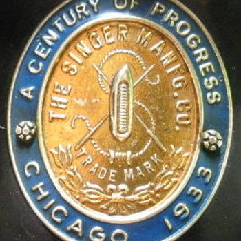 """1933 Century of Progress"" Singer Badge - Sewing"
