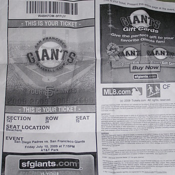 Jonathan Sanchez No-Hitter Ticket Stub - Baseball