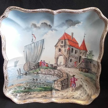 Helena Wolfsohn Scenic Harbour Boat Scene on Meissen Square Scalloped Bowl - China and Dinnerware