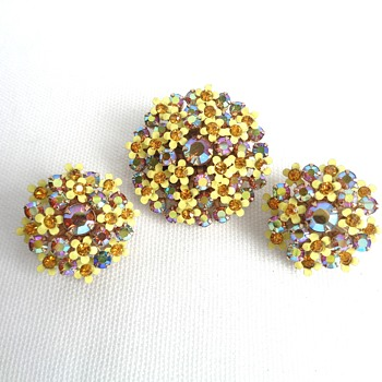 Purple and Yellow Vintage Weiss earring and brooch set