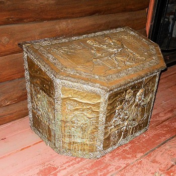 Antique Coal or Fire Wood Box Embossed Copper - Furniture