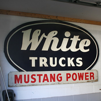 Whites Truck Mustang power dealer sign   - Advertising