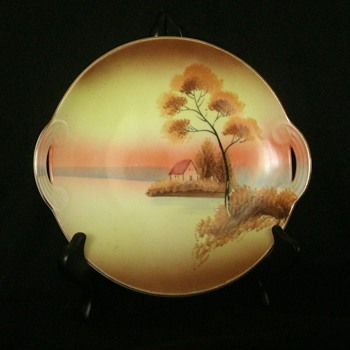"Meito China 8"" handled plate with hand painted cottage on lake scene - China and Dinnerware"