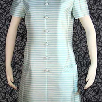 "Silk 60's ""Jackie"" Style Aqua Striped Dress - Womens Clothing"