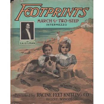"ADVERTISING SHEET MUSIC,FOR STOCKINGS ""FOOTPRINTS"" 1909, RACINE FEET - Music Memorabilia"