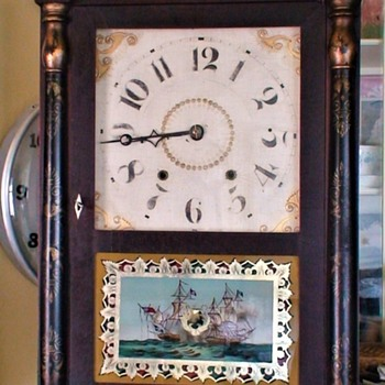 Riley Whiting Transitional Wood Works Shelf Clock 1830s - Clocks