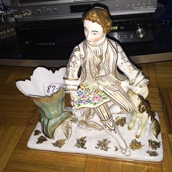 Volkstedt Minton Darby Dresden ? Please help identify maker mark old porcelain man with dog hard paste  - Figurines