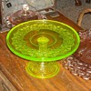 Vaseline Glass Cake Stand Daisy and Buttons Pattern