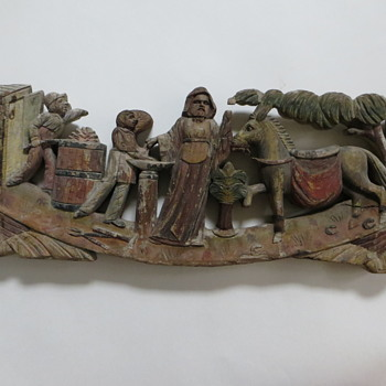Antique Carving~Biblical Subject?~Large w/ Figures, Animals, Boat, Angel figureheads - Folk Art