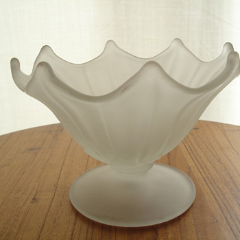 Frosted white satin compote - Art Glass