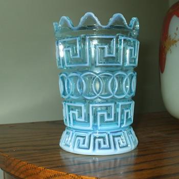 """Nickel Plate Glass Co. """"DOUBLE GREEK KEY"""" Blue Opalescent Spooner"""